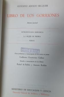 LIBRO DE LOS GORRIONES. EDICIÓN FACSÍMIL. (INTRODUCCIÓN SINFÓNICA. LA MUJER DE PIEDRA. RIMAS).