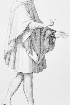 Ropa del pueblo. Grabado original, trajes históricos de Francia, Páris, 1852, 15x23 cm.,